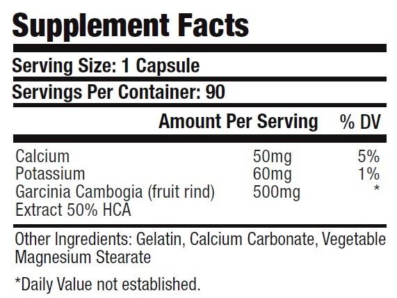 Cambogia Extract 500mg 50% HCA Hydroxycitric Acid with Potassium